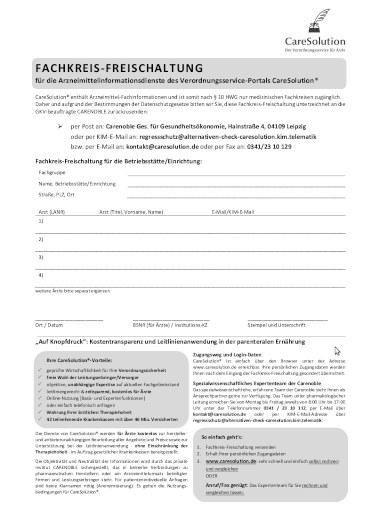 Anmeldung zu CareSolution®